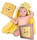 BabyCrate Kapuzenbadetuch Löwe 100% Bio-Baumwolle weich und dick - Premium-Qualität - ideal als Geschenk für Neugeborene, Säuglinge und Kleinkinder