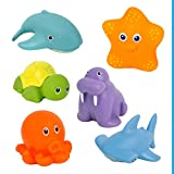 Badewannenspielzeug Wasserspritztiere ab 6 Monaten, 6er Set BPA frei und Schadstofffrei zertifiziert, Schimmelfrei, übt Feinmotorik und Greifkraft, schwimmendes Badespielzeug für Badewanne