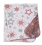 Babydecke/Kuscheldecke für Babys, Baumwollmischgewebe, 100x120 cm, Hellrot/Grau - Sterne