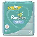 Pampers Fresh Clean Baby Feuchttücher, 260 Tücher (5 x 52) Mit Frischem Duft, Dermatologisch Getestet, Baby Erstausstattung Für Neugeborene