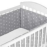 Bettumrandung Nestchen Babybett umrandungen - babybettumrandung Bettnestchen für Kinderbett 120x60 cm Beistellbett Gitterbett Grau Baumwolle