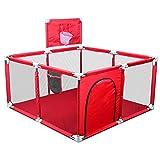 Jedona Laufstall Baby,Laufgitter mit Basketballkorb,Spielzaun für Kinder Sicherheit Spielplatz mit Aufbewahrungstaschen /Oxford (Rot)