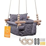 SWINGG Babyschaukel, Kinderschaukel - Indoor Outdoor , Schaukel für Baby und Kinder mit Sicherheitsgurt, Befestigungsset & Anti-Rutsch Sitzkissen , Baby Schaukel aus Holz & Baumwollstoff
