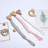 3 Stück Baby Schnullerkette Clip, Unisex-Schnullerketten für Baby mit Kunststoff Clip Schnullerband Stoff für Lätzchen Dreieckstuch Sauger Schnuller (A1)