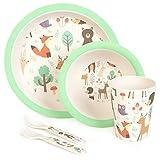boppi Geschirr- und Besteck-Set für Kinder aus Bambus. Spülmaschinenfestes und BPA-freies Kinder Geschirr mit rundem Teller, Müslischale, Saftbecher, Gabel und Löffel
