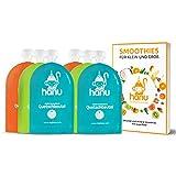 Hanu® wiederverwendbare Quetschies (6er Set) mit Smoothie Rezeptbuch - BPA & PVC freie Quetschbeutel wiederverwendbar für eine gesunde und umweltfreundliche Kinderernährung