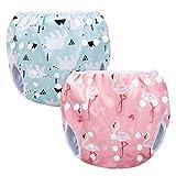 Luxja Schwimmwindel wiederverwendbar (2 Stück), Baby Schwimmhose Verstellbarer, Waschbar Schwimmwindel für Baby (0-3 Jahre), Eisbär + Rosa Flamingo