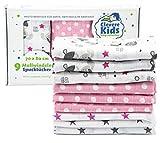 Clevere Kids Mulltücher | 9er-Pack | bedruckt | OEKO-TEX | doppelt gewebt | 70x80 | Spucktücher (Mädchen)