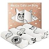 4-er 100% Bio-Mullwindeln 80x80 cm - Geschenk baby weihnachten - Optimal als Pucktuch, Stoffwindel, Decke, Wickelunterlage, Spucktuch und Lätzchen