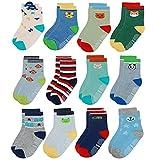Yafane 12 Paar Baby Socken Antirutsch Anti-Rutsch Neugeborenes Kinder Kleinkinder Babysocken für 0-7 Jahre Baby Jungen und Mädchen (Grün-Grau, 1-3 Jahre)