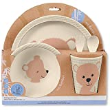 Sterntaler Bambus Kinder Geschirr-Set Baylee, 5-teilig, Süßes Bär-Motiv, Rosa