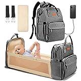 Yoofoss Baby Wickelrucksack Wickeltasche Rucksack mit mobiler Wickelauflage Wasserdichter Babyrucksack Große Kapazität Reiserucksack mit USB Anschluss Grau