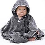 Mabyen Baby Poncho - Babybademantel Kapuzenbademantel Badehandtuch 100% Baumwolle Grau & Hellgrau, passt bis 3 Jahre