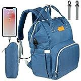 NEVEQ Baby Wickelrucksack, Babytasche für Reise, Wickeltasche Große Kapazität, Multifach Reise Rucksack Wasserdicht Fächer Babyflaschehälter (Dunkelblau)