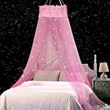 Jeteven Moskitonetz Kinder, Moskitonetz Mädchen Prinzessin Moskitonetz Moskitonetz Bett Reise,Abweisendes Netz,Enthält Fluoreszierende Sterne Dekorative Schneeflocke (Rosa)