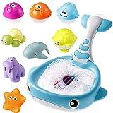 MojiDecor Baby Badespielzeug Set, 9 Stück Badewanne Spielzeug für Kinder Wasserspielzeug mit Fischernetz, Wasserstrahl Duschspielzeug Badewannenspielzeug für Kinder