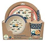 POS 30747 - Frühstücksset 5 teilig aus Bambus mit fröhlich buntem Retro Cars Motiv, Teller, Schale, Becher, Gabel und Löffel, ideal für kleine Kinder, bpa- und phthalatfrei, spülmaschinengeeignet