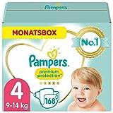 Pampers Baby Windeln Größe 4 (9-14kg) Premium Protection , 168 Stück, MONATSBOX, Weichster Komfort Und Schutz