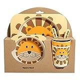 shopwithgreen Kindergeschirr 5-teiliges Sets -Kinder Geschirr Set aus Bambus | Teller|,Schüssel, Löffel, Gabel, Tasse| Geeignet für Kinderbesteck ab 6 Monaten, Kein BPA,Umweltfreunflich & Gesund