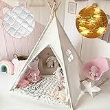 Tiny Land Tipi Spielzelt für Kinder mit Matte & Lichterkette & Aufbewahrungstasche Baumwolle- Segeltuch Kinderzelt (Weiß 165cm Hoch)