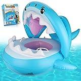Weokeey Baby Schwimmring, Baby Schwimmsitz mit Sonnenschutz Dach Baby Schwimmreifen mit Glocken im Inneren Hai Schwimmring für Kinder ab 6 Monate bis 36 Monate