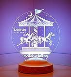 Personalisierte Geschenke Lampe Karussell für Kinder 3D Led Lampe Wunschtext Schlummerlicht Farbwechsel Dekor Lampe