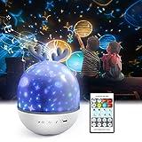 Sternenhimmel Projektor Lampe Kinder ,Petrichor LED Musik Nachtlicht Lampe Schlummerleuchten Schlafhilfe Kind 360° Rotation mit 8 Beruhigende Musik,6 Projektionsfilmen für Kinder Zimmer Dekoration