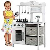 Kinderplay Kinderküche Spielküche Holz - Kinderküche aus Holz, Weiß-Grau, für Kinder Küche, Spielzeug mit Edles Küchen - Zubehör aus Edelstahl, inkl. Brenneren mit Ton und Licht, GS0058