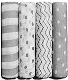 CuddleBug Musselin Swaddle Wickeldecke Baby - (4er Pack) - große Musselin Decken für Neugeborene - 120cm x 120 cm - Weicher Baumwolle Größe Receiving Decken (Punkte und Streifen)