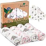 Tabalino Superweiche Bambus Mullwindeln Spucktücher | 80x80cm | 4er-Pack + gratis Schmusetuch |doppelt dicht gewebt| Stoffwindeln Mädchen Mulltücher Baby Moltontuch 30% Baumwolle (rosa Elefanten)