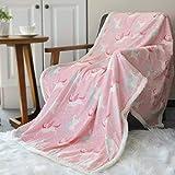 BORITAR Flauschige Kuscheldecke 125x150cm Rosa Einhorn Decke mit super weiche Sherpawoll für Mädchen, Zweiseitige Uni Sofadecke, Leichte Mikrofaser Fleece Decke Überwurf für Sofa und Couch