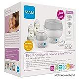 MAM 6in1 Sterilisator und Express Babykosterwärmer, Flaschenwärmer inkl. 2x MAM Easy Start Anti-Colic Flaschen (160 ml), 2x MAM Start Schnuller und 1 Zange