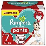 Pampers Größe 7 Baby Dry Windeln Pants, 104 Stück, MONATSBOX, Für Atmungsaktive Trockenheit (17+kg)