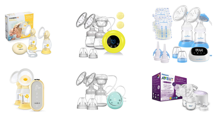 Elektrische Milchpumpe SUMGOTT Wiederaufladbare Doppel-Stillpumpe Elektrische Brustpumpe mit 3 Modi und 9 Saugstufen